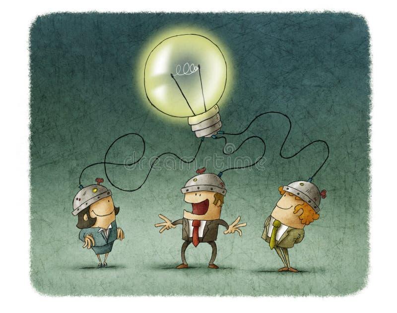 3 предпринимателя деля одну идею иллюстрация штока