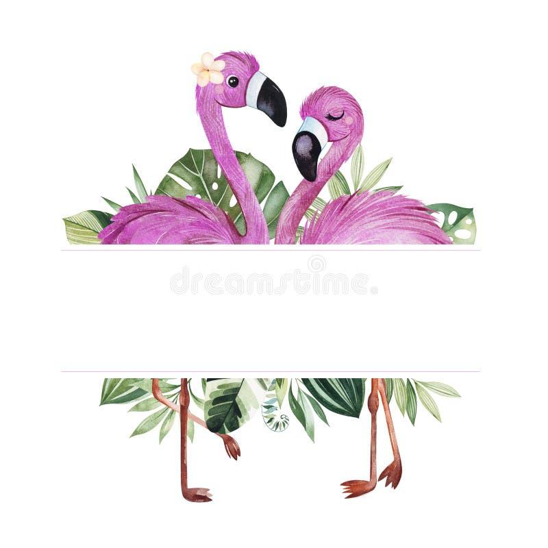 Пре-сделанная граница рамки с зелеными листьями и милыми фламинго иллюстрация штока