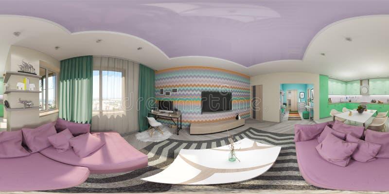 Представьте безшовную панораму интерьера живущей комнаты стоковые изображения rf
