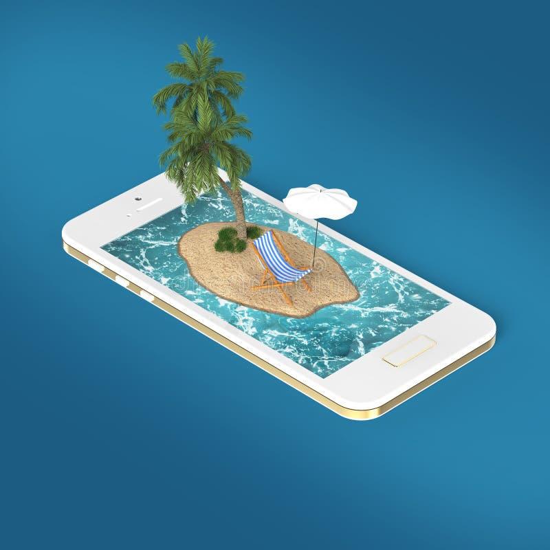 представьте тропического островного курорта с голубыми водой океана моря, пляжем песка и пальмами на перемещении экрана smartphon иллюстрация вектора