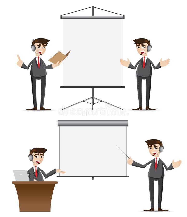 Представление бизнесмена шаржа установленное с наушниками иллюстрация вектора