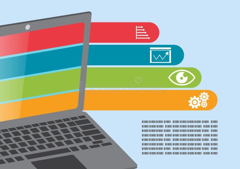 Представление графика данным по компьютер-книжки иллюстрация штока