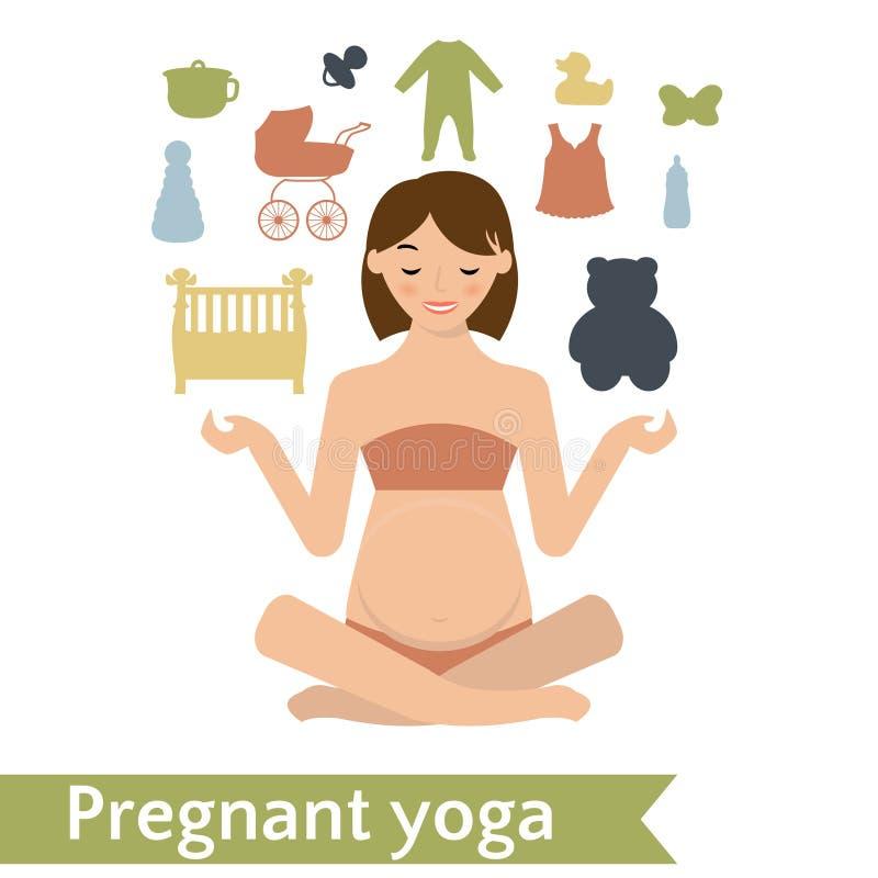 Представление йоги мамы практикуя также вектор иллюстрации притяжки corel иллюстрация штока