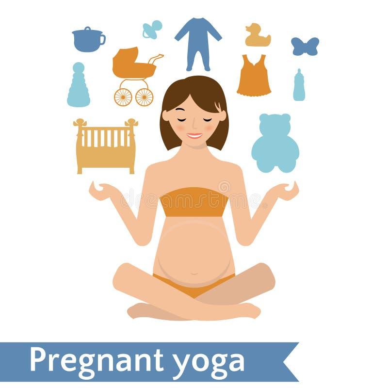 Представление йоги мамы практикуя также вектор иллюстрации притяжки corel иллюстрация вектора