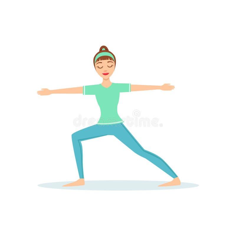 Представление йоги Virabhadrasana ратника 2 продемонстрированное Yogi шаржа девушки с Ponytail в голубой Sportive одежде иллюстрация вектора
