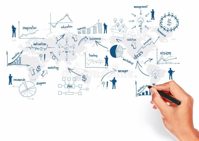 Представление принципиальной схемы чертежа плана глобального бизнеса иллюстрация вектора