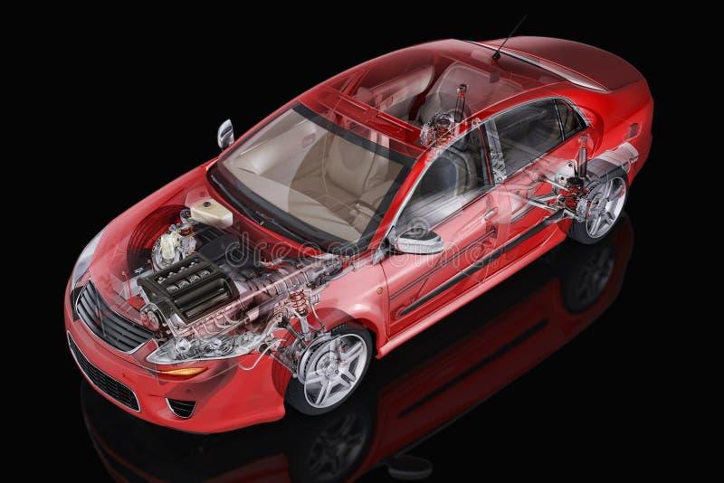 Представление cutaway родового автомобиля седана детальное. иллюстрация штока