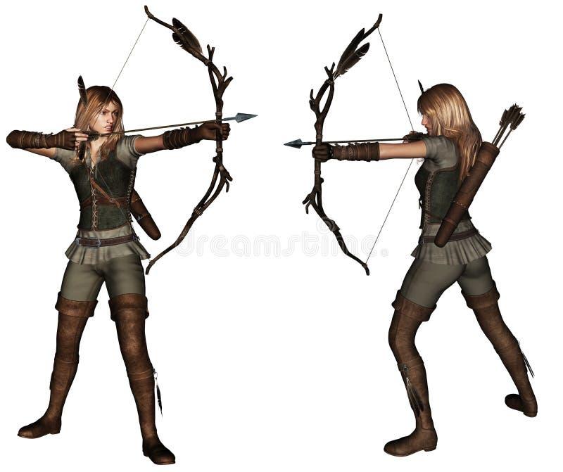 Представления женщины 2 лучника стоковая фотография