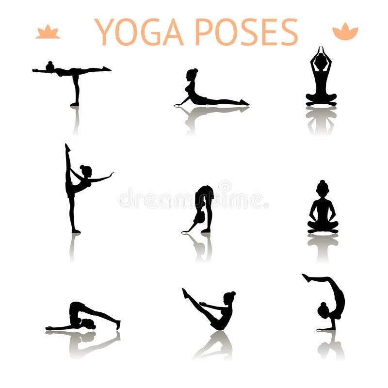 Представления силуэта йоги бесплатная иллюстрация