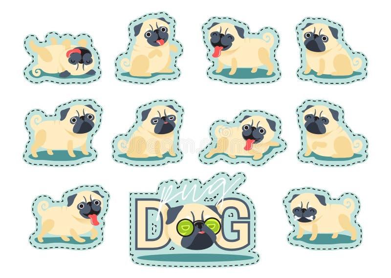 Представления собаки мопса персонажа из мультфильма иллюстрация штока