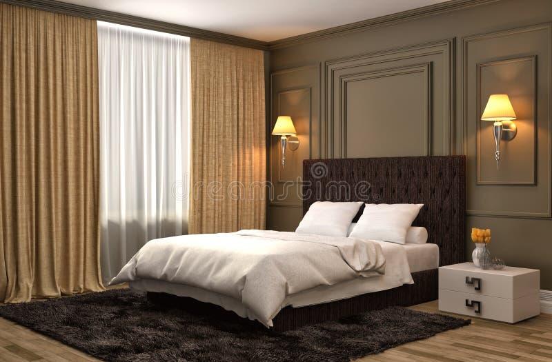 представленная молния окружающей спальни 3d нутряная иллюстрация 3d иллюстрация вектора