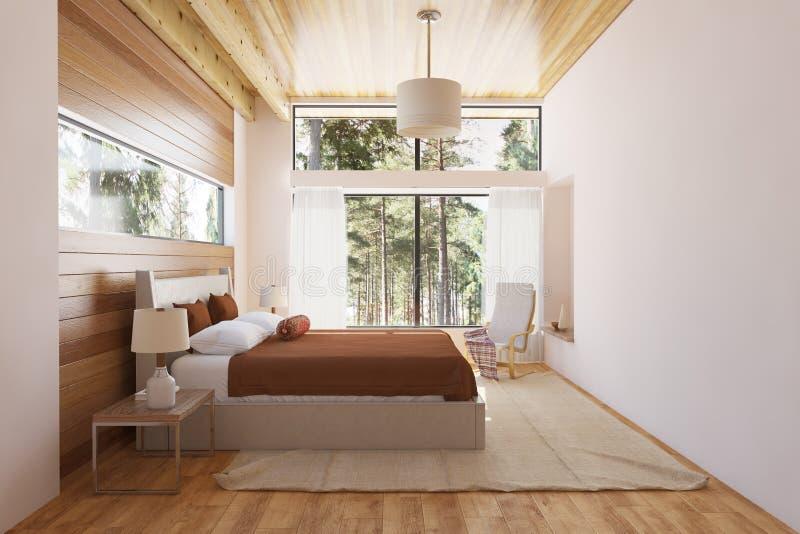 представленная молния окружающей спальни 3d нутряная стоковые изображения rf