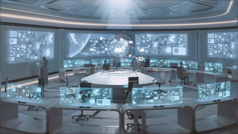 представленное 3D, современный, футуристический интерьер центра управления с людьми стоковое изображение