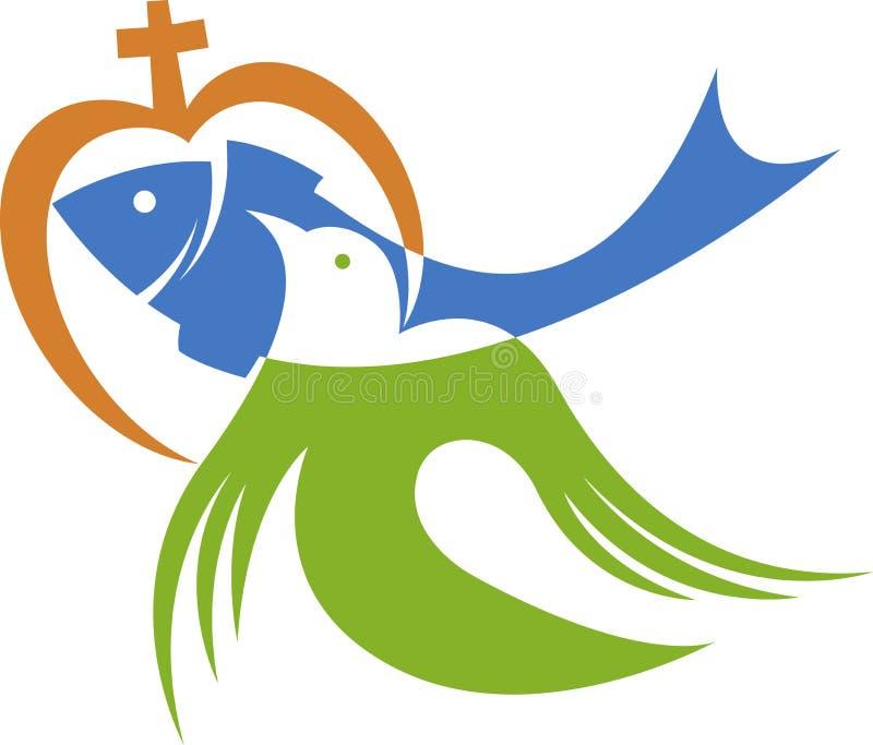 Представляет христианский логотип влюбленности бесплатная иллюстрация