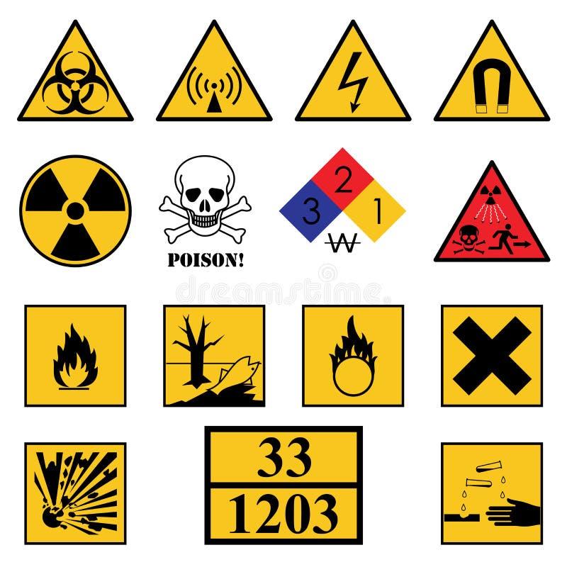Предупреждающие знаки опасности иллюстрация вектора