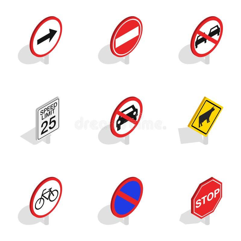 Предупреждающие значки знака уличного движения, равновеликий стиль 3d бесплатная иллюстрация