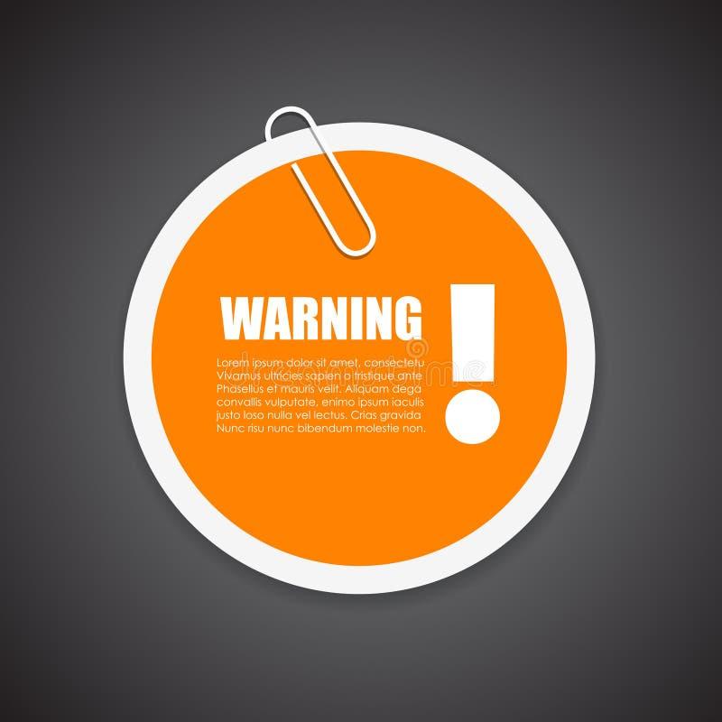 Предупреждающий стикер извещении о безопасностью иллюстрация вектора