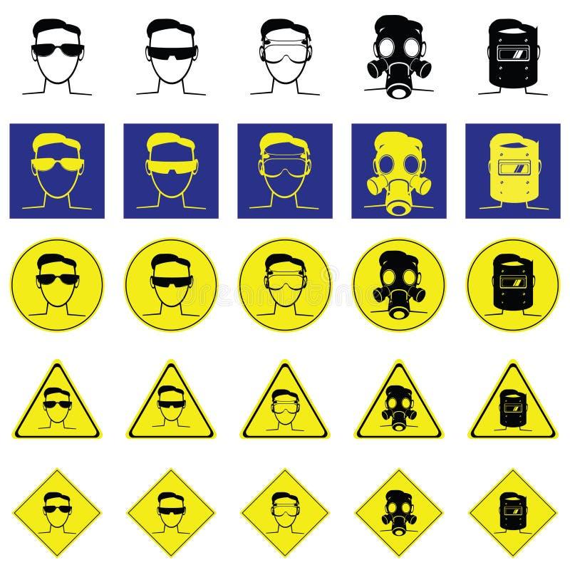Предупредительный знак головы с стеклами предохранения от глаз иллюстрация штока