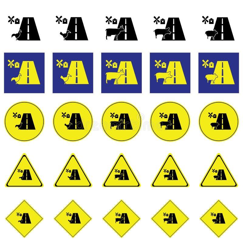 Предупредительный знак животного в ферме через дорогу бесплатная иллюстрация