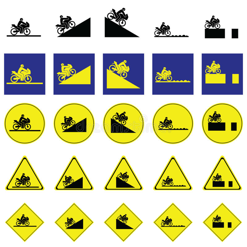 Предупредительный знак мотоцилк катания человека в различных путях бесплатная иллюстрация