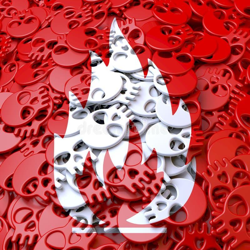 Предупредительный знак огнеопасный, луч, белизна, красные черепа бесплатная иллюстрация