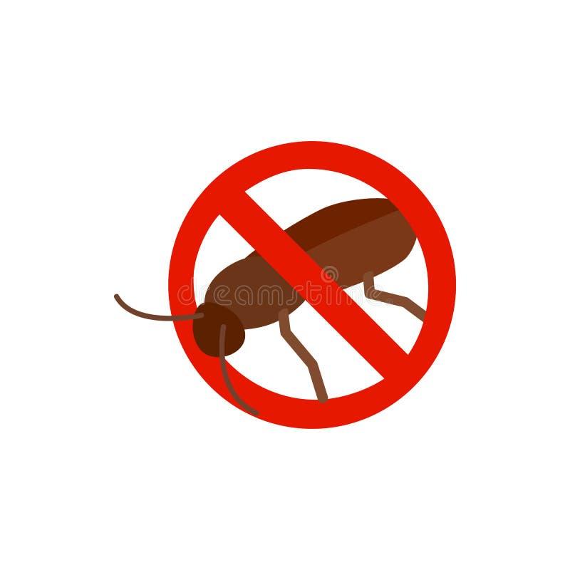 Предупредительный знак с значком таракана иллюстрация вектора