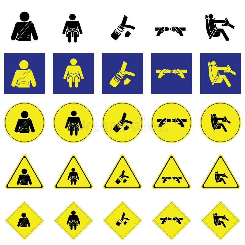 Предупредительный знак человека голодая ремень безопасности иллюстрация штока