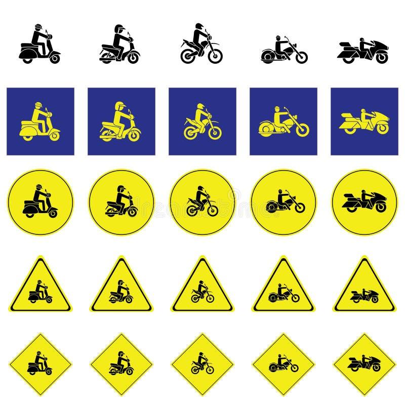 Предупредительный знак человека ехать различный тип мотоцилк иллюстрация вектора