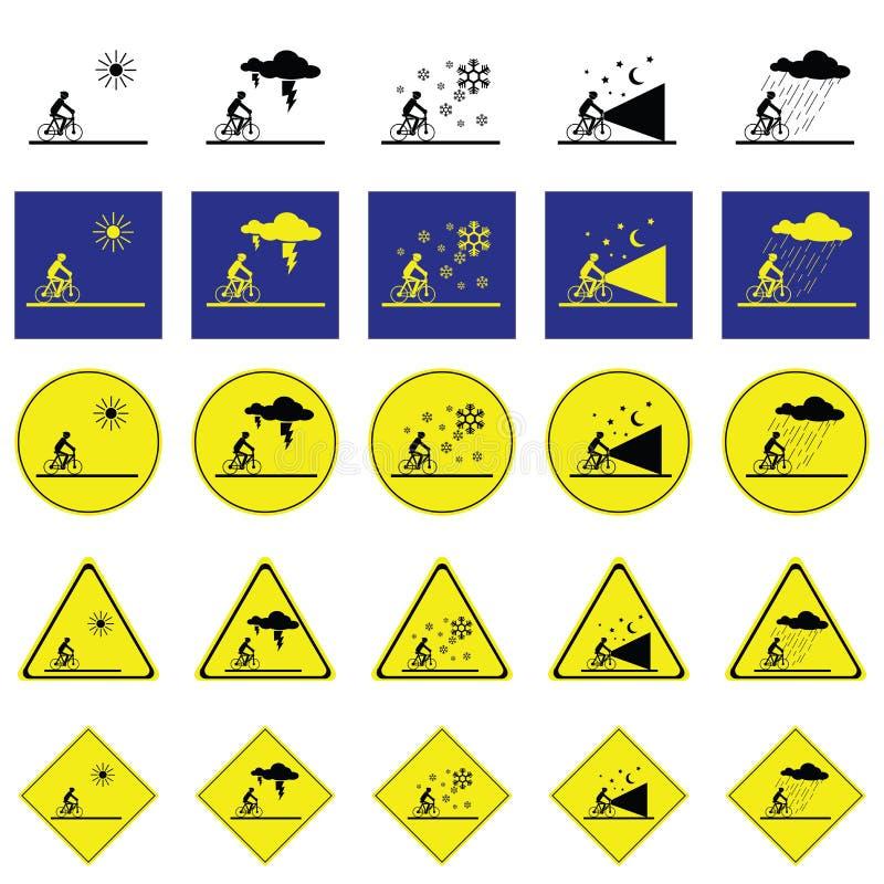 Предупредительный знак человека задействуя на различных климатических условиях иллюстрация вектора