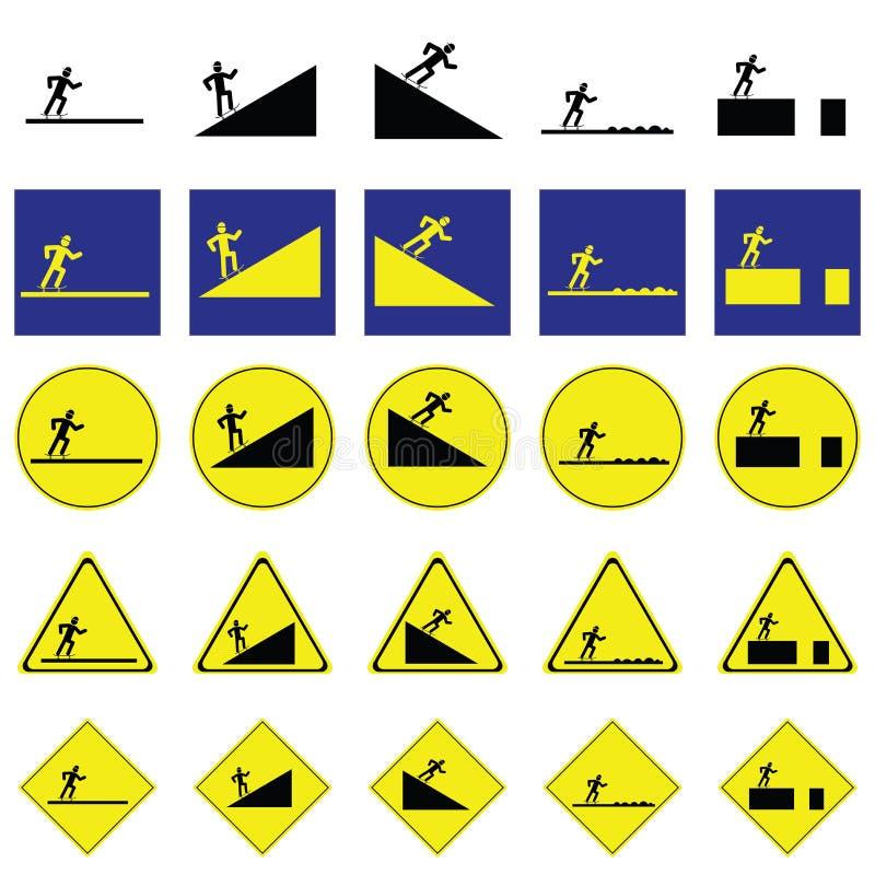 Предупредительный знак человека катаясь на коньках скейтборд на различных путях иллюстрация штока