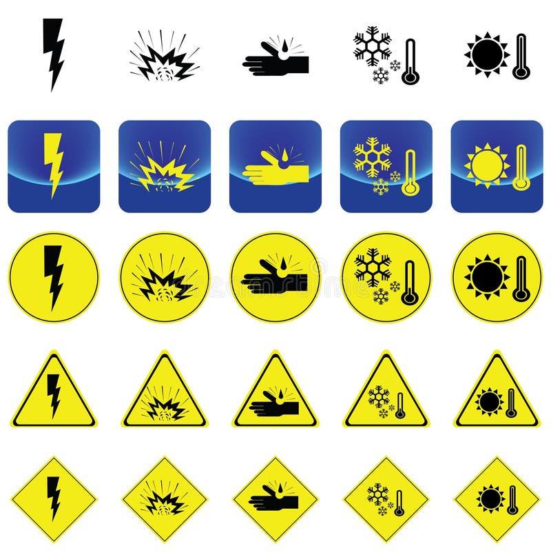 Предупредительный знак для удара электричества, взрывчатка, корозия, холод, вектор жары иллюстрация штока