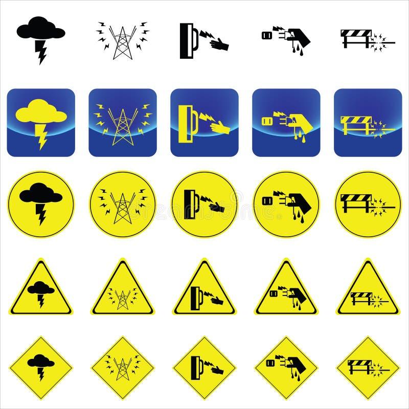 Предупредительный знак для удара электричества от грома, высоковольтный поляк, влажный вектор руки иллюстрация вектора