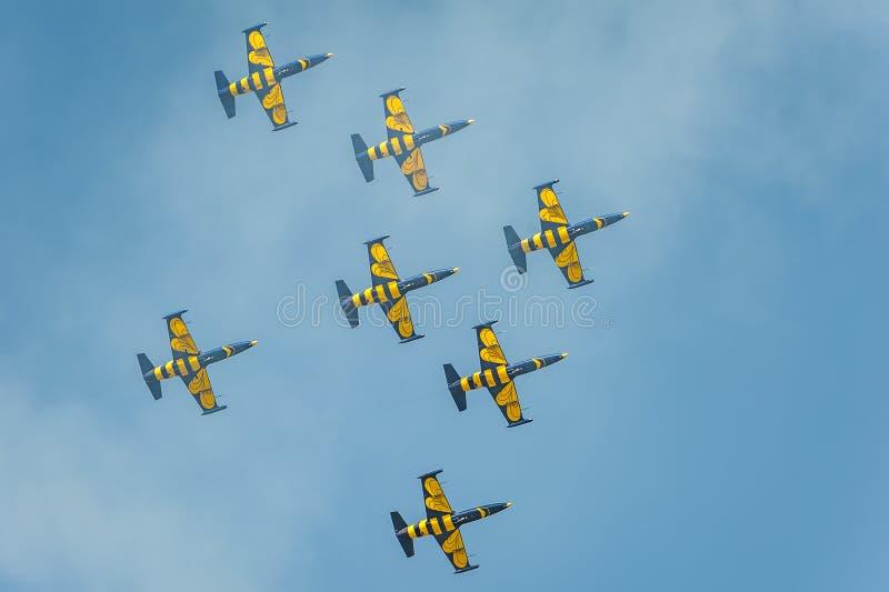 Прибалтийские пчелы объединяются в команду выполняют полет на авиасалоне и показывают эффектное выступление стоковые фотографии rf