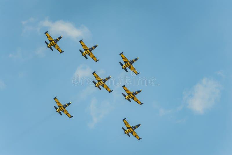 Прибалтийские пчелы объединяются в команду выполняют полет на авиасалоне и показывают эффектное выступление стоковая фотография
