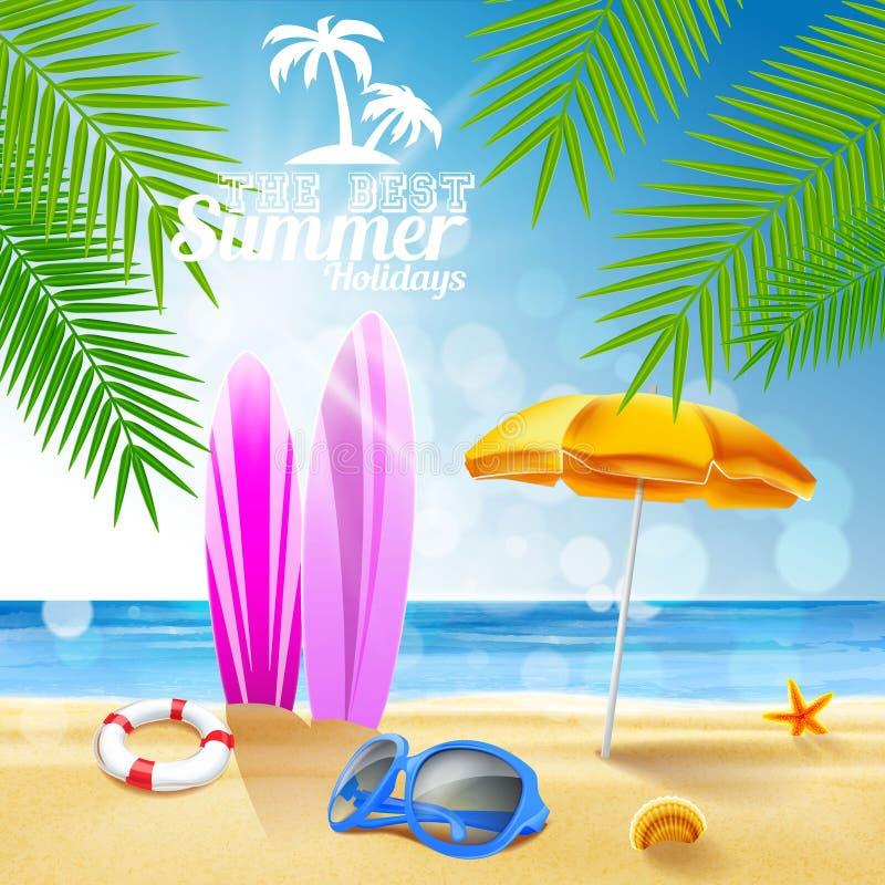 Прибой на летних отпусках пляжа иллюстрация вектора