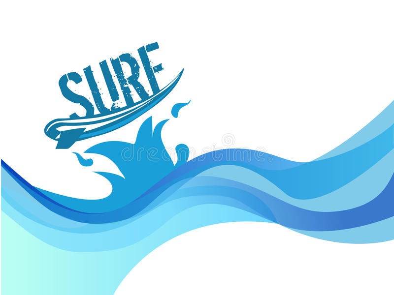 Прибой на дизайне вектора волн воды предпосылки волны бесплатная иллюстрация