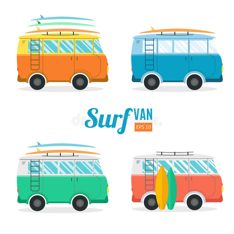 Прибой Van Устанавливать Плоский дизайн вектор иллюстрация штока