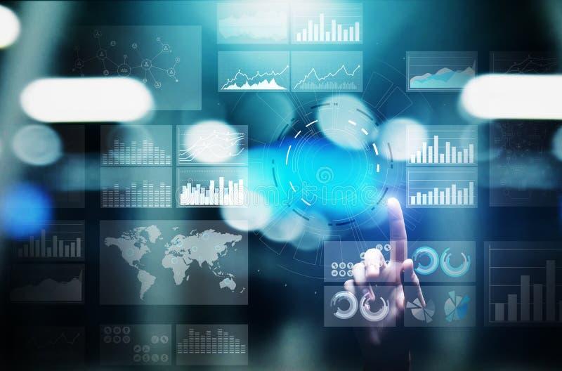 Приборная панель интеллектуального ресурса предприятия виртуального экрана, аналитик и большая концепция технологии данных иллюстрация штока