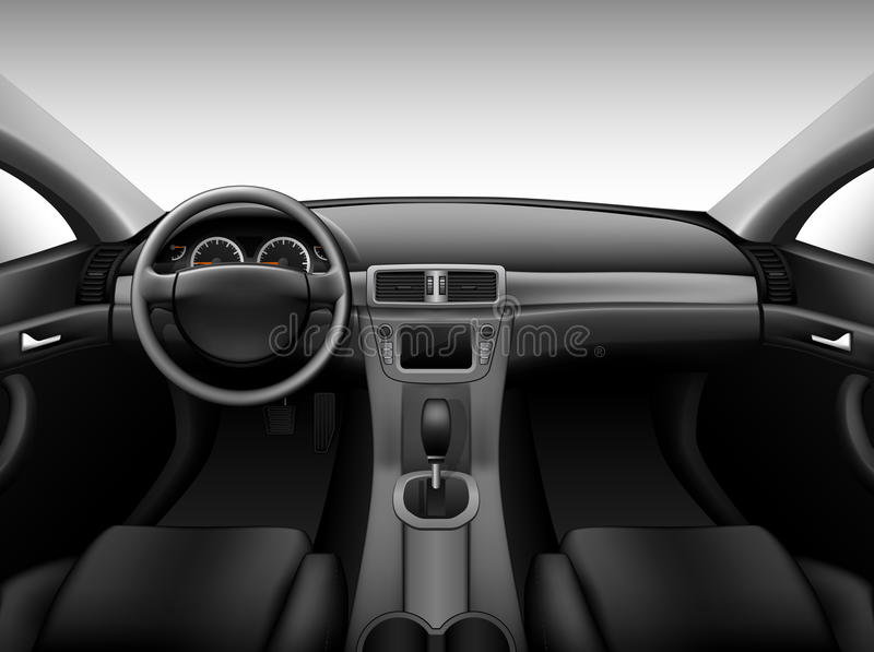 Приборная панель - интерьер автомобиля иллюстрация штока