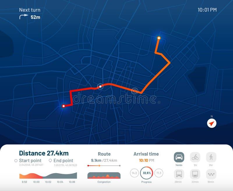 Приборная панель маршрута Навигация карты улицы города, маршруты городка бежать и gps отслеживая иллюстрацию вектора приложения к иллюстрация штока