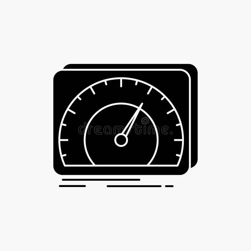 приборная панель, прибор, скорость, тест, значок глифа интернета r иллюстрация штока