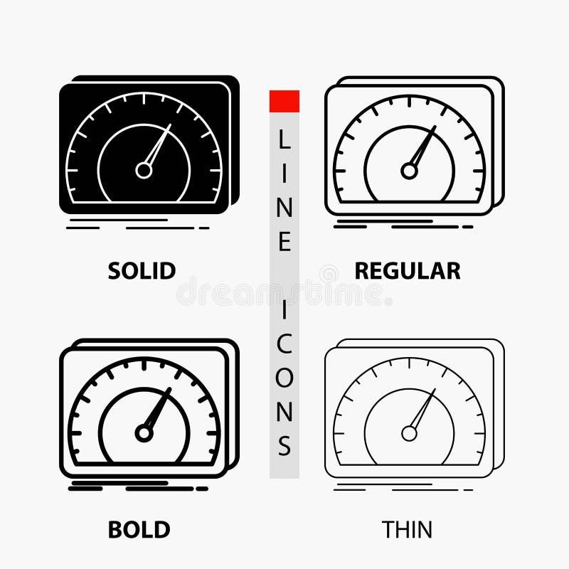 приборная панель, прибор, скорость, тест, значок интернета в тонких, регулярных, смелых линии и стиле глифа r иллюстрация штока