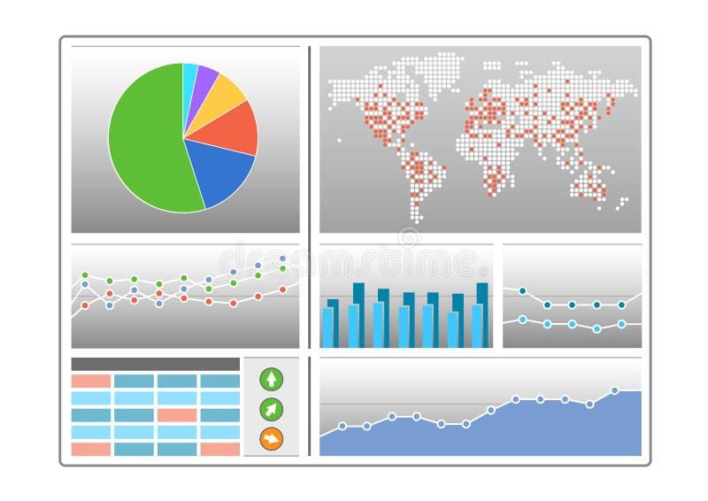 Приборная панель с разными видами диаграмм любит долевая диограмма, карта мира, диаграмма в виде вертикальных полос, линия диагра иллюстрация вектора