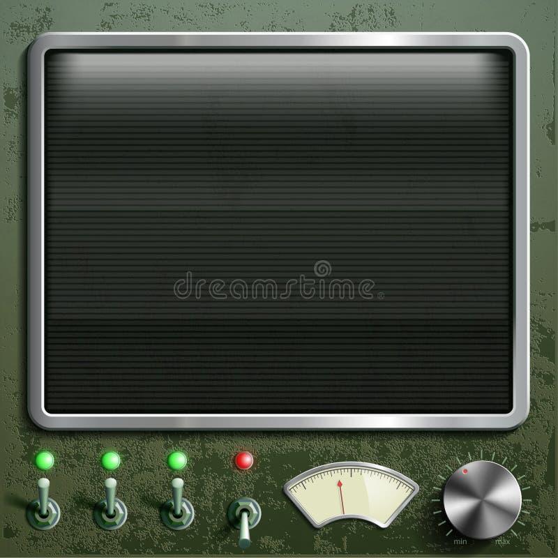 Приборная панель с экраном Винтажный ретро прибор Запас il иллюстрация штока