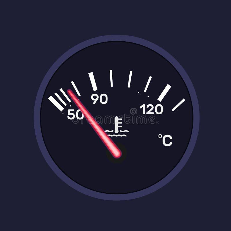 Приборный щиток, индикатор температуры автомобиля Технологический цифровой датчик иллюстрация вектора