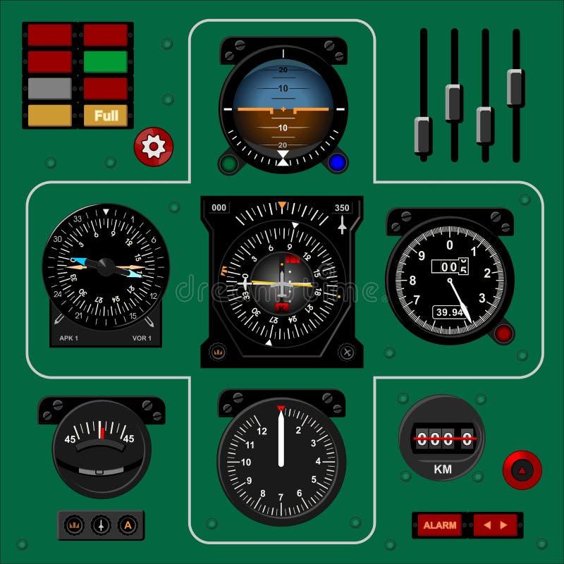 Приборный щиток самолета Приборная панель воздушных судн Реалистическая предпосылка иллюстрация штока