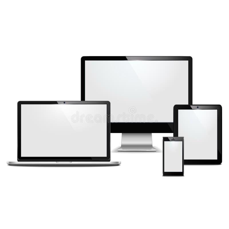Приборы компьютера вектора иллюстрация вектора