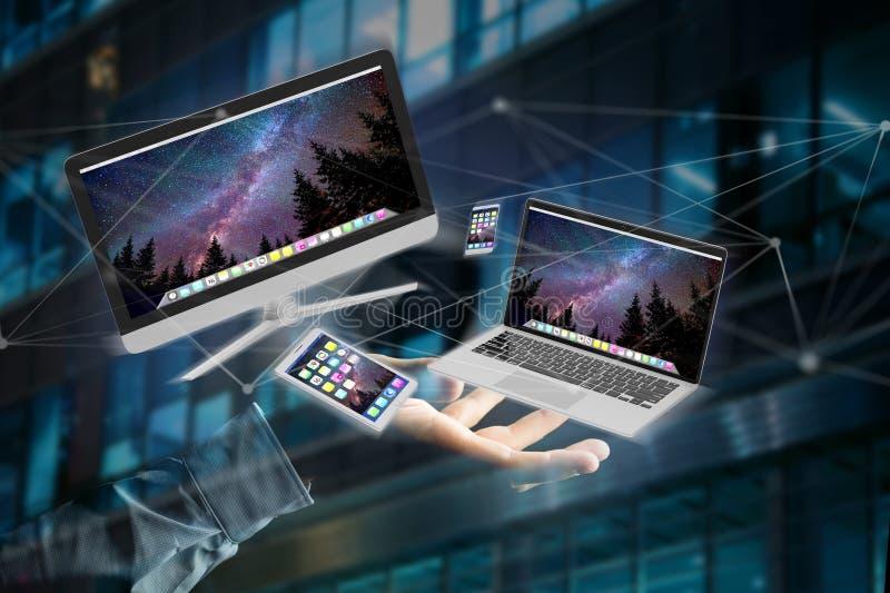 Приборы любят smartphone, таблетка или компьютер летая над connecti иллюстрация штока