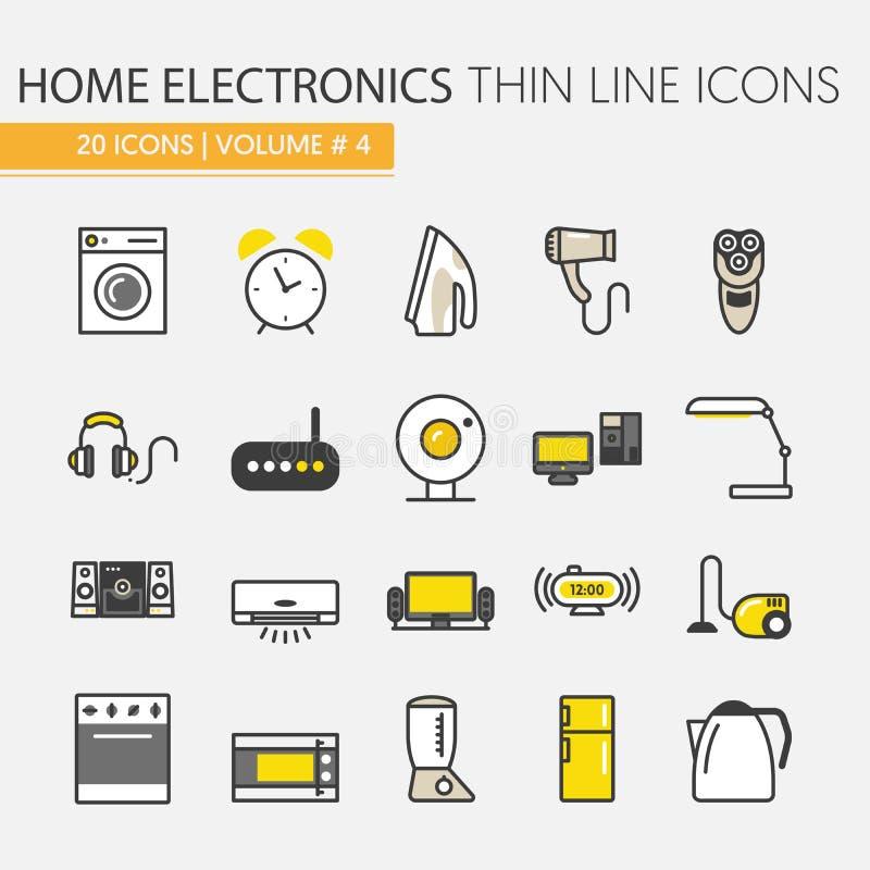 Приборы домашней электроники утончают линию установленные значки бесплатная иллюстрация