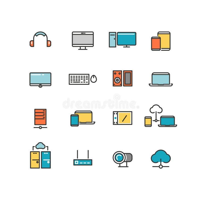Приборы дома и офиса Личные приборы мультимедиа электроники Линейные установленные значки цвета вектора иллюстрация вектора